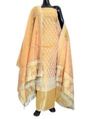 Benarasi Jamdani Brocade Suit in Silk-Cotton- Light Peach 1