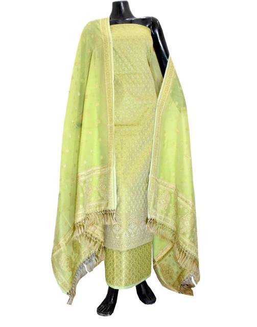 Benarasi Jamdani Brocade Suit in Silk-Cotton- Lime Yellow