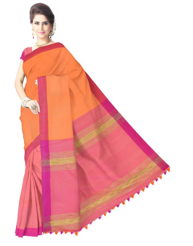 Bengal Handloom Cotton Linen Saree- Multicolor