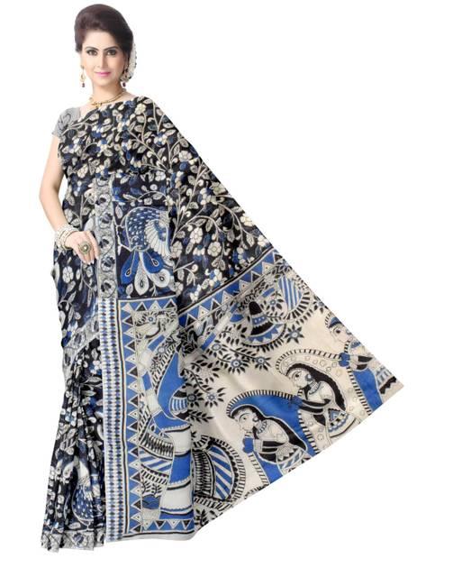 Kalamkari Saree in Cotton-Black&Blue