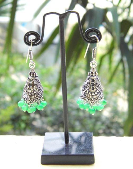 Oxidized Metal Jhumkas/Jhumkis-Green Beads