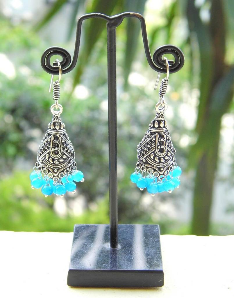 Oxidized Metal Jhumkas/Jhumkis-Turquoise Beads