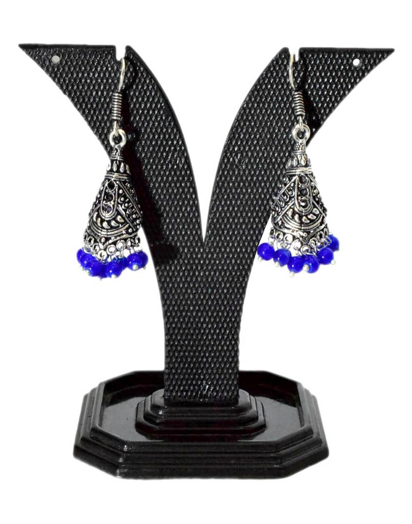 Oxidized Metal Jhumkas/Jhumkis-Blue Beads