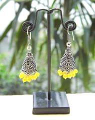Oxidized Metal Jhumkas/Jhumkis-Yellow Beads