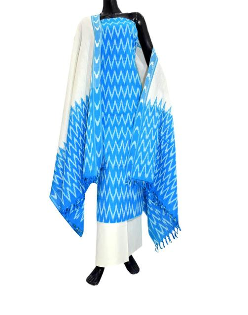 Handloom Cotton Ikat Salwar Suit-Turquoise&White 1