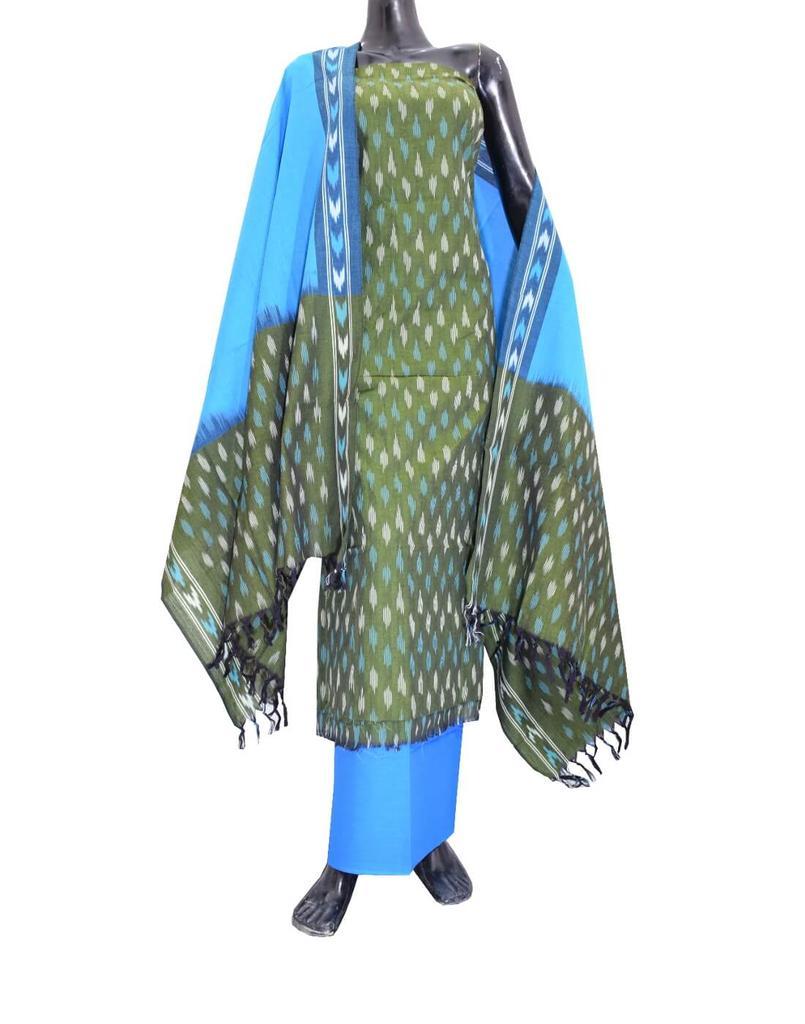 Handloom Cotton Ikat Salwar Suit-Dark Olive Green&Turquoise