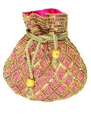 Handmade Beaded Drawstring Potli/Batwa-Pink