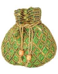 Handmade Beaded Drawstring Potli/Batwa-Green