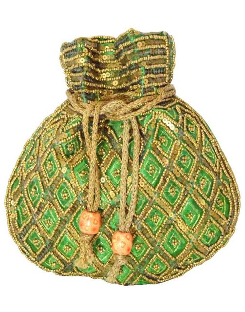 Handmade Beaded Drawstring Potli/Batwa-Green