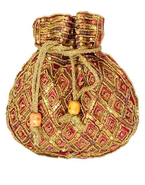 Handmade Beaded Drawstring Potli/Batwa-Maroon