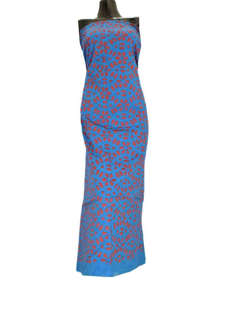 Cotton Cutwork Kurta-Red&Blue