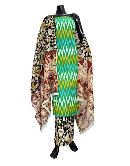 Ikat & Kalamkari Block Print Cotton Suit-Multicolor 1