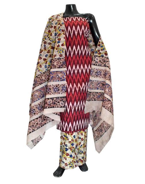 Ikat & Kalamkari Block Print Cotton Suit-Maroon