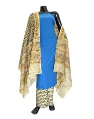 Kalamkari Block Print Cotton Suit-Blue