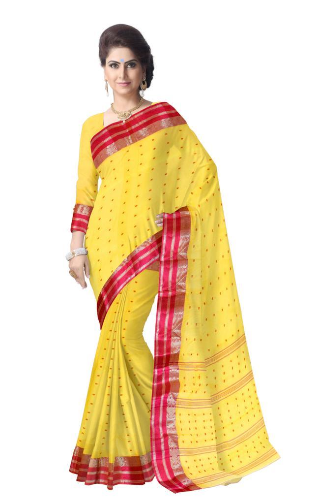 Bengali Tant Saree with Booti Motifs - Yellow&Red