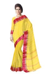 Bengali Tant Saree with Booti Motifs - Yellow&Red