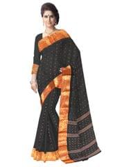 Bengali Tant Saree with Booti Motifs- Black