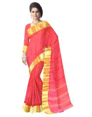 Bengali Tant Saree with Booti Motifs - Red&Yellow