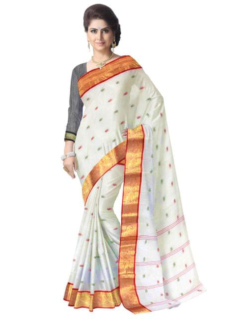 Bengali Tant Saree with Booti Motifs - White&Red