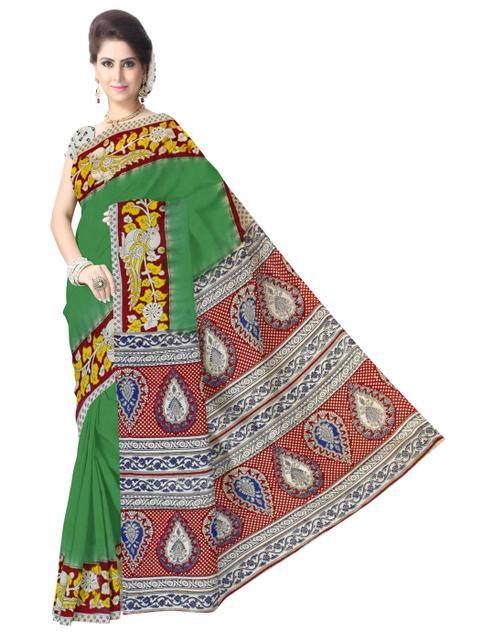 Kalamkari Saree in Cotton-Green