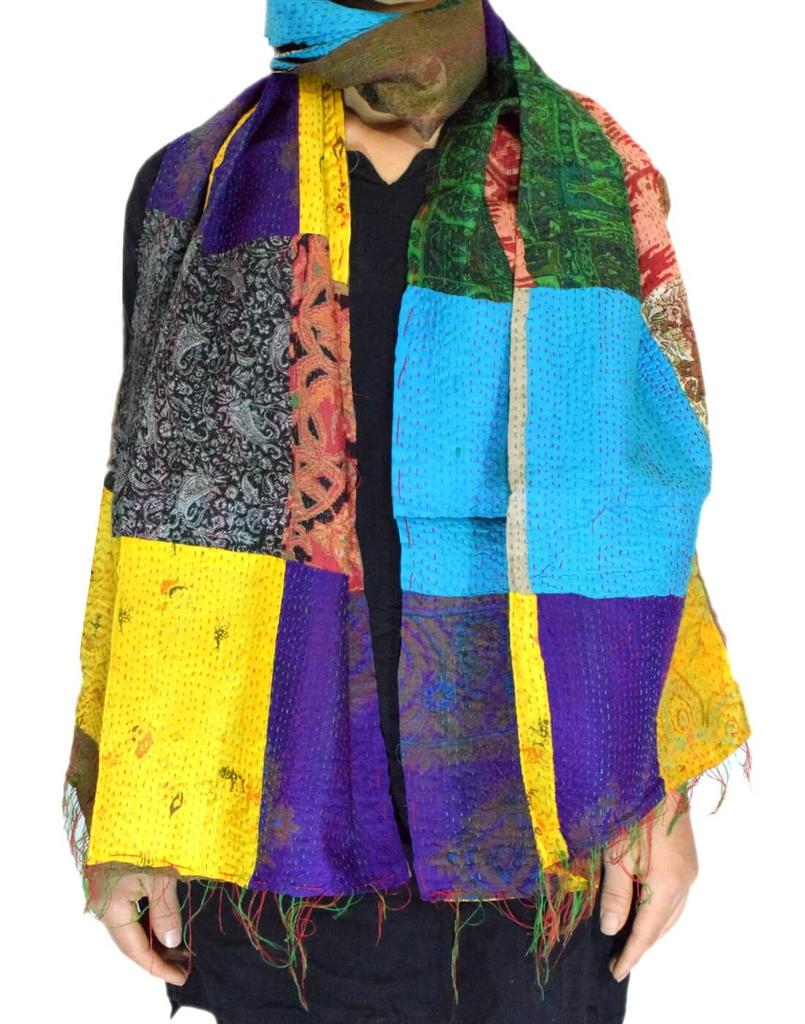 Reversible Patchwork Kantha Stole in Cotton Silk- Pattern 6