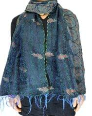 Reversible Patchwork Kantha Stole in Cotton Silk- Pattern 3
