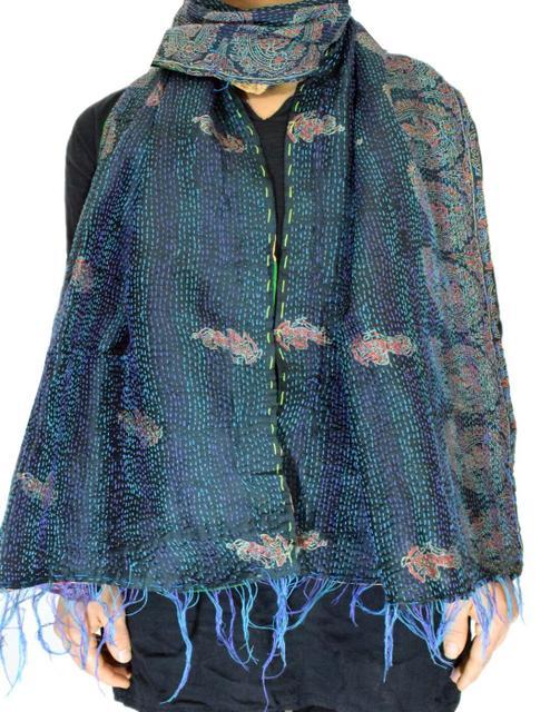 Reversible Patchwork Kantha Stole in Cotton Silk- Pattern 3