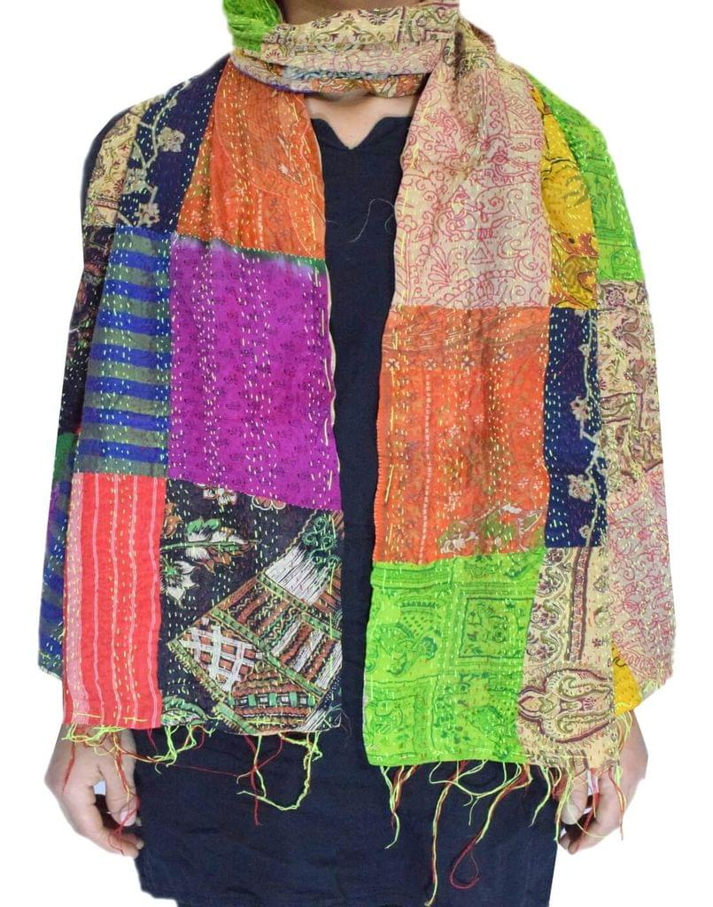 Reversible Patchwork Kantha Stole in Cotton Silk- Pattern 8