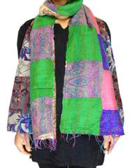 Reversible Patchwork Kantha Stole in Cotton Silk- Pattern 4