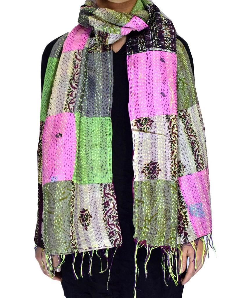 Reversible Patchwork Kantha Stole in Cotton Silk- Pattern 9