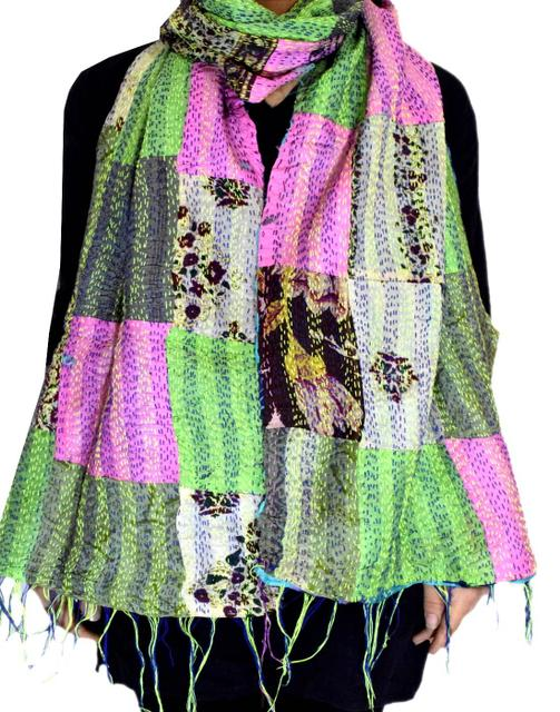 Reversible Patchwork Kantha Stole in Cotton Silk- Pattern 5