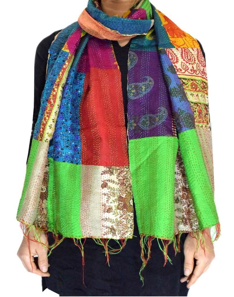 Reversible Patchwork Kantha Stole in Cotton Silk- Pattern 13