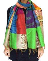 Reversible Patchwork Kantha Stole in Cotton Silk- Pattern 13