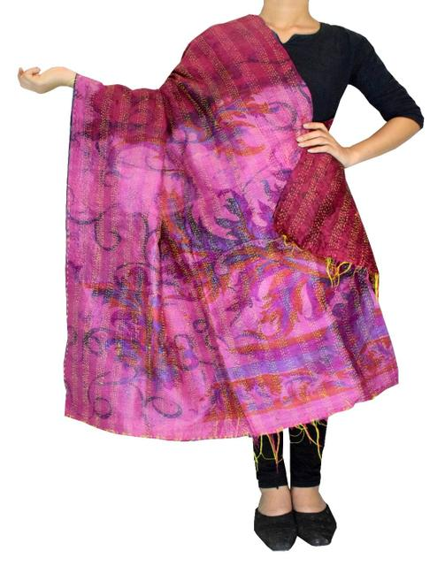 Reversible Kantha Dupatta in Cotton Silk-Multicolored 1