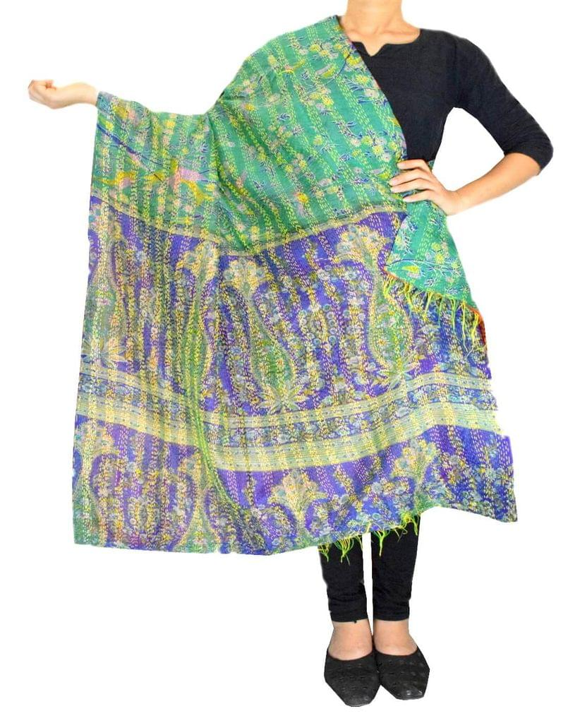 Reversible Kantha Dupatta in Cotton Silk-Multicolored 2