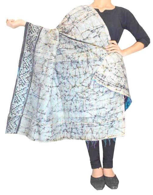 Reversible Kantha Dupatta in Cotton Silk-Multicolored 4
