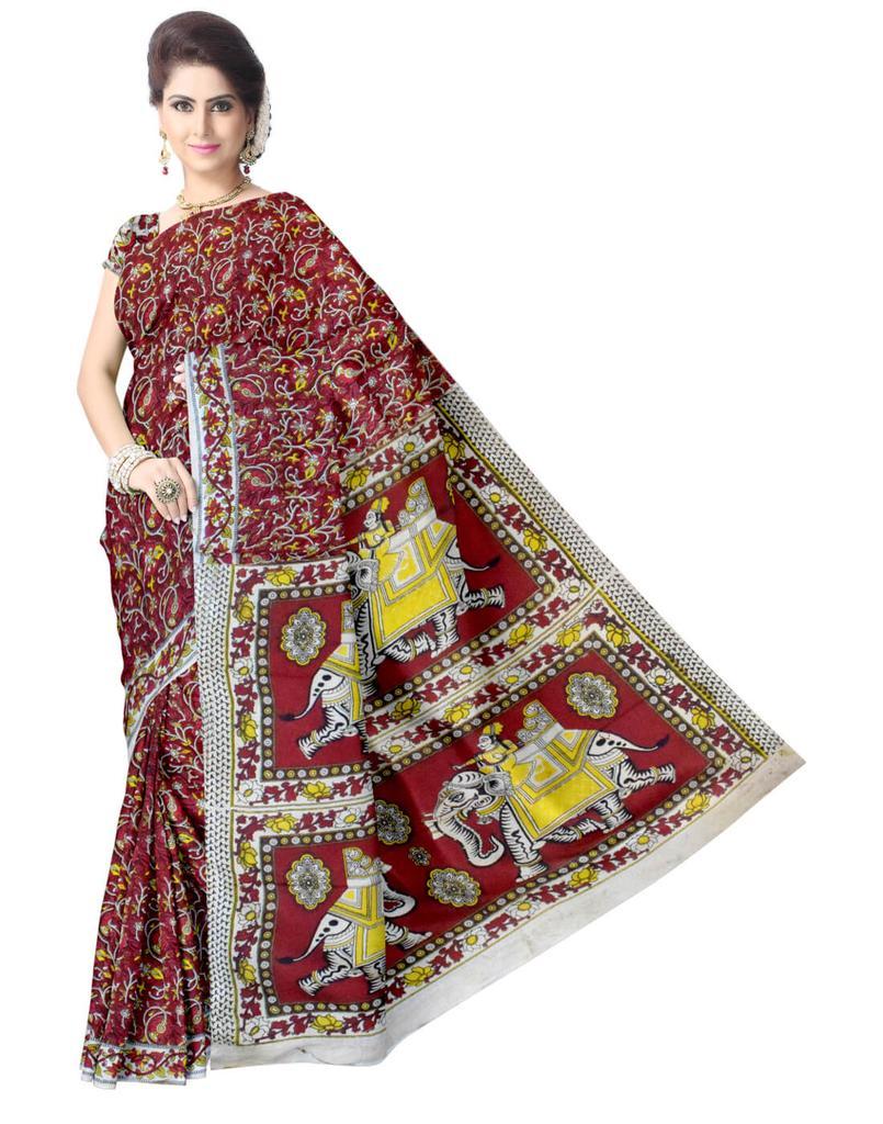 Kalamkari Saree in Silk -Red