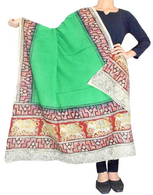 Kalamkari Hand Block Print Cotton Dupatta-Parrot Green