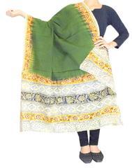 Kalamkari Hand Block Print Cotton Dupatta-Olive Green