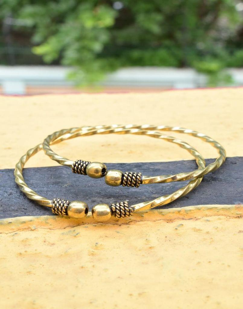 Brass Bangle Pair with Twisted Pattern