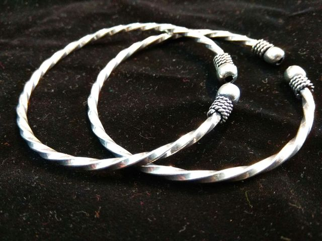 Oxidized Metal Bangle Pair with Twisted Pattern