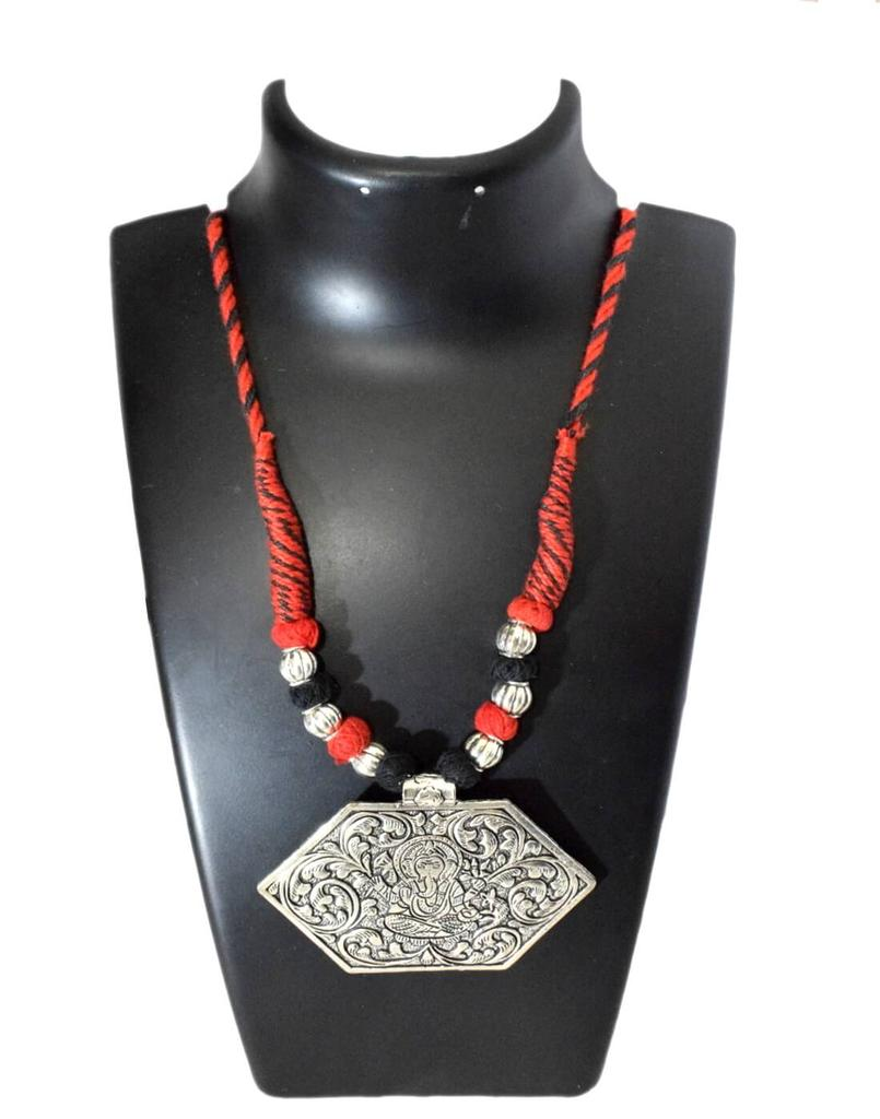 Threaded German Silver Necklace- Black&Red
