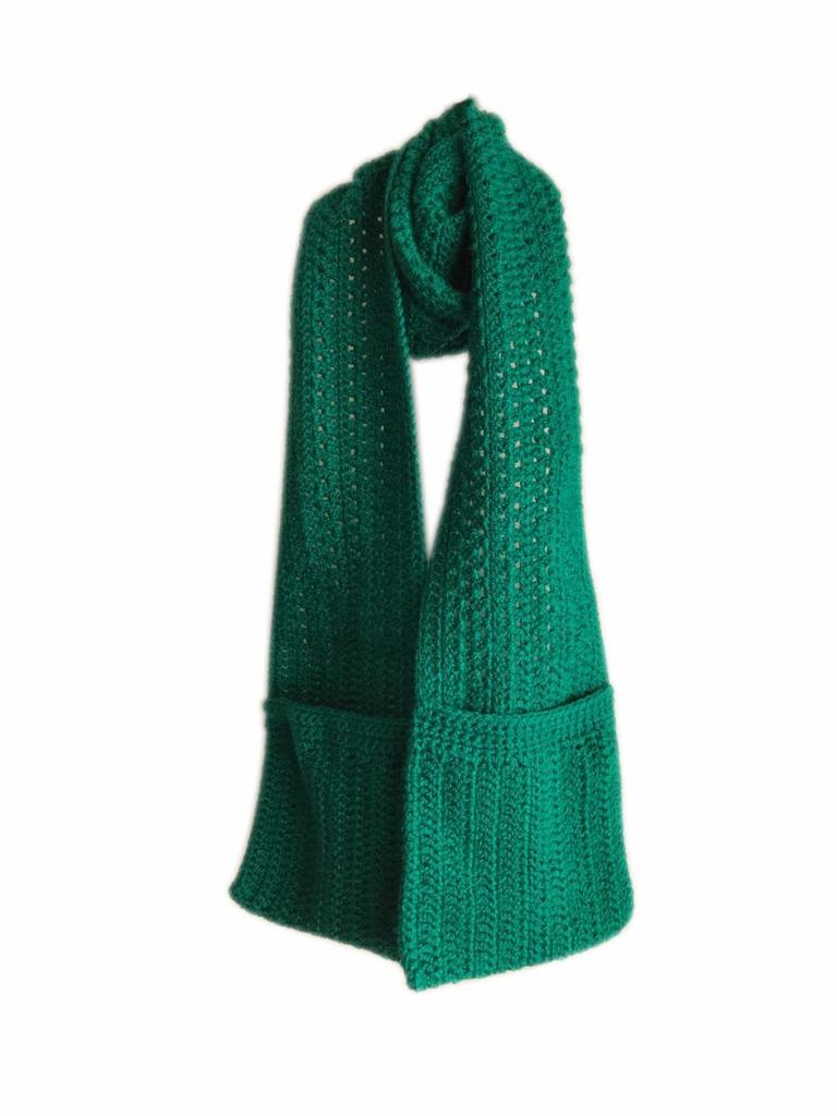 Woollen Crochet Muffler/Stole with Pockets- Green