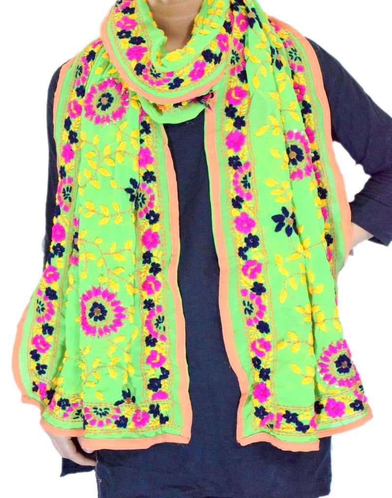 Georgette Phulkari Stole -Light Green