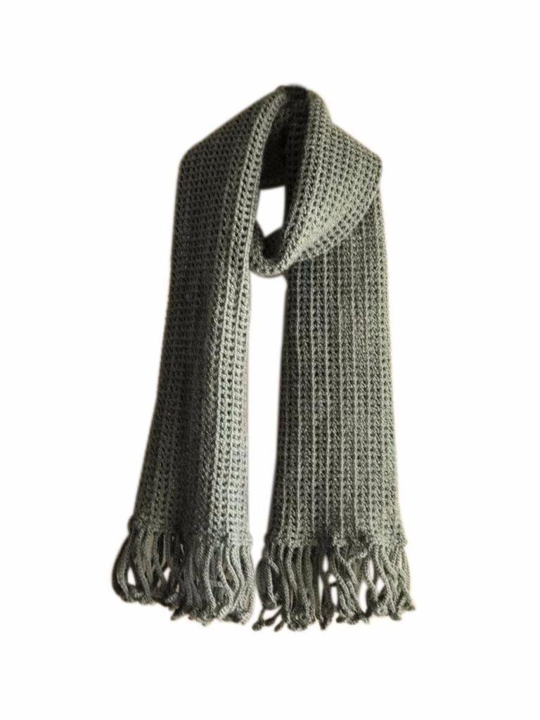 Woollen Crochet Muffler/Stole- Gray