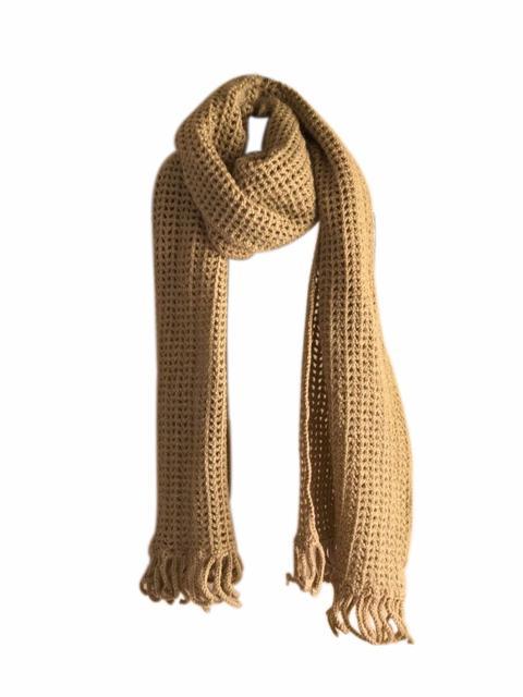 Woollen Crochet Muffler/Stole- Beige