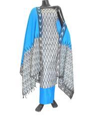 Handloom Cotton Ikat Salwar Suit-Grey&Turquoise