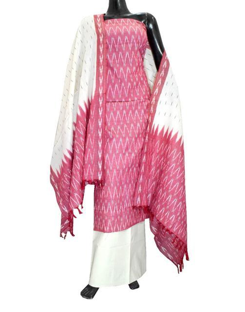 Handloom Cotton Ikat Salwar Suit-Red&White 1