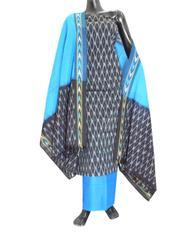 Handloom Cotton Ikat Salwar Suit-Turquoise&Black
