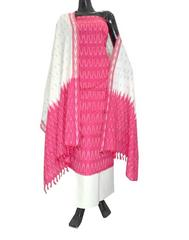 Handloom Cotton Ikat Salwar Suit-Red&White